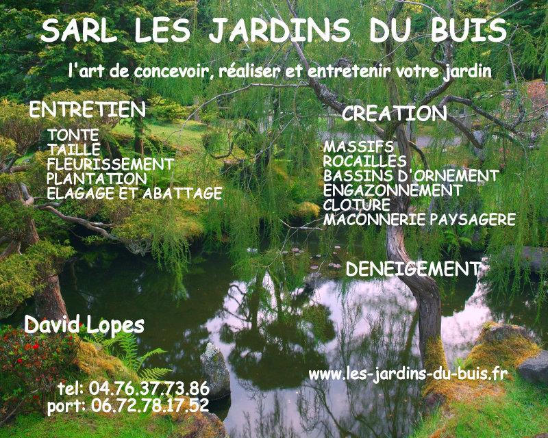 Contact SARL Les Jardins du Buis David Lopes 73330 Le Pont de Beauvoisin, Domessin - Entretien, aménagements extérieurs, tonte, désherbage, terrasse, dalle, pavage