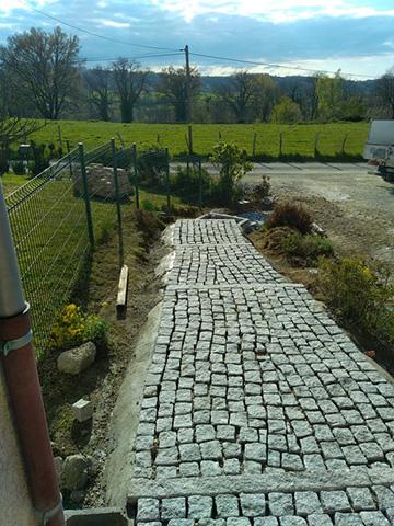 1 - Escalier, pavage bordure en granit - Les Jardins du Buis, paysagiste Avant-Pays, Savoie, Isère, Ain