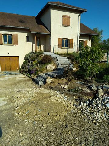 5 - Escalier, pavage bordure en granit - Les Jardins du Buis, paysagiste Avant-Pays, Savoie, Isère, Ain